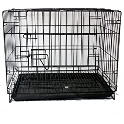 SL&ZX Klappbarer Metall hundebox,Hund kiste Abdeckung einzelner Tür Tragbare Katze Käfig Kennel Pet laufstall Schwarz Große kiste Pet hundebox-Schwarz