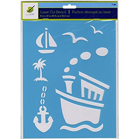 Multicraft Imports Color Factory Stencil 8-inch x 10-inch Tugboat, Acrylic, Multicolour