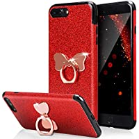 HUDDU Rot Shinny Glitzer Sparkles TPU Handyhülle iPhone 7 Plus / iPhone 8 Plus Bling Hülle 360 Rotation Ring Halter... preisvergleich bei billige-tabletten.eu