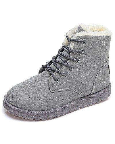 Minetom Donna Autunno Inverno Lace Up Pelliccia Classico Neve Stivali Snow Boots Stivali Cavaliere Scarpe Piatte Grigio EU 40
