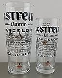 Estrella Damm Pint and Half Pint Glass Set (1 Pint and 1 Half Pint) by Estrella