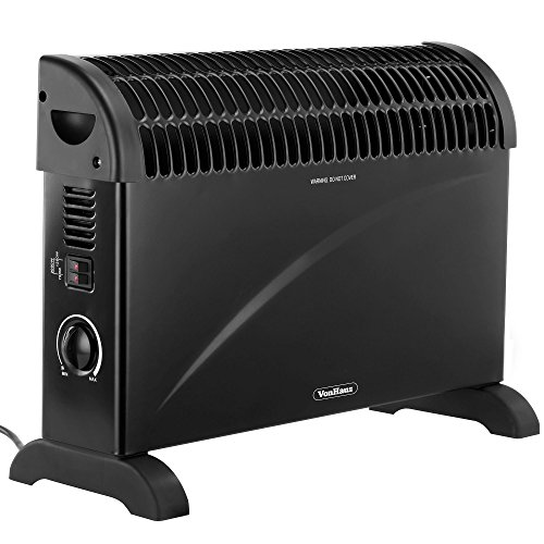 VonHaus Convector Heater 2KW – Electric with Thermostat & 3 Heat Settings – Portable & Free Standing with Safety Thermal Cut Off feature - 2000W Black