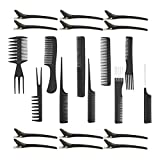 Sharplace 10 Pièces Salon Hair Cutting Hairdressing Barber Combs Brush Set + 12 Clips