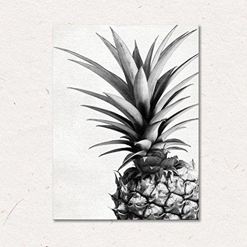 MINRAN DECOR C Image sur Toile CP231 Art Print, Ananas Noir et Blanc, prete a Suspendre - encadrée - Tableaux pour la Mur - Motif Moderne - Décoration, A, 30 * 40CM