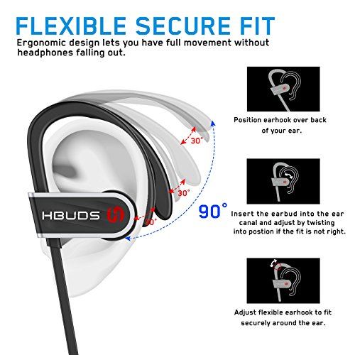 Bluetooth Headphones, HBUDS H1 Bluetooth 4.1 Wireless Sport Earphones, Waterproof IPX7 Richer Bass HiFi Stereo In-Ear Earbuds w/Mic, 8-9 Hrs Playback Noise Cancelling Headsets-Black
