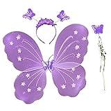 3-7 años - Conjunto de disfraces - Mascarada - Carnaval - Halloween - Teatro - Alas de mariposa - Hada - Diadema - Varita mágica - Lila - Niñas pequeñas