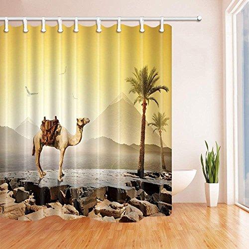 CDHBH Tropical Desert Camel Unter die Kokos-Baum Duschvorhang Polyester-180,3x 180,3cm Schimmelresistent-Badezimmer Fantastische Dekorationen Bad Vorhänge Haken im Lieferumfang Enthalten -