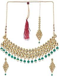Priyaasi Gold-Toned & Green Kundan Jewellery Set