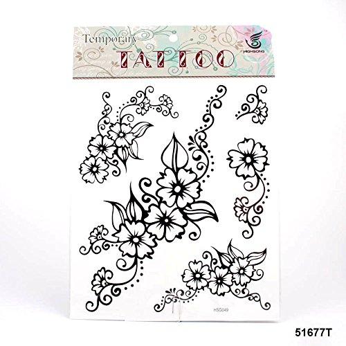 ***Sehr große Tattoos schwarz-weiße Blumen mit Rankenmuster (Temporäre Floral Tattoos)