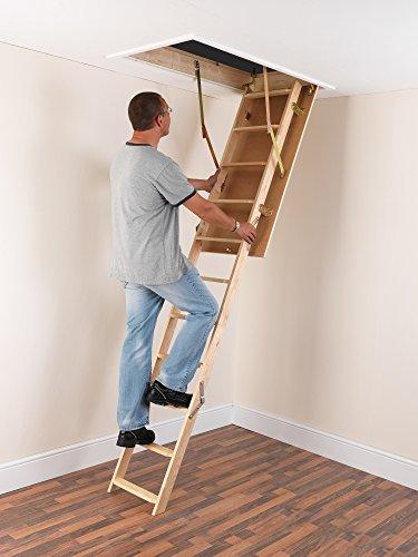 Laddaway EuroFold Dachboden-Leiter-Set aus Holz, mit isolierter Luke, Weiß