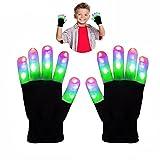 DMbaby Spielzeug ab 11-15 Jahre, Geburtstagsgeschenk für Kinder LED Blinklicht Bunte Rave Handschuhe Weihnachten G06