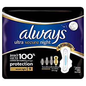 Always Ultra Secure Night Sanitary Towels with Wings - Single Pack (9 Pads)