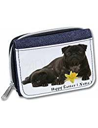 Advanta - Denim Wallet Personalised Name Black Pugs Girls/Ladies Purse Ad-P91Da2Jw Credit Card Case, 13 Cm, Blue