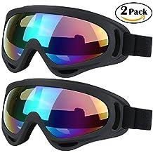 Gafas de esquí, 2unidades, gafas de snowboard skate Gafas de Motocicleta Bicicleta Equitación para niños, niños, niñas, jóvenes, hombres, mujeres con UV 400protección, resistente al viento, lentes antirreflejos, negro / negro