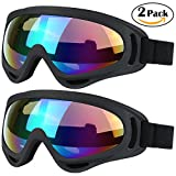 Ski Goggles, 2 Pack Snowboard Goggles, Skate Motorcycle Bicycle Riding Goggles for Kids, Boys, Girls, Youth, Men, Women with UV 400 Protection, Windproof, Anti-Glare Lenses (Black/Black)