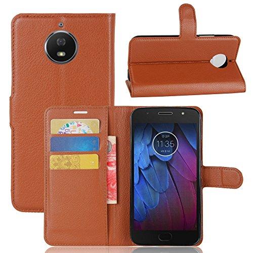 Motorola Moto G5S PlusHandy cover, Lifeepro Kratzfest Drop Protection Anti-Rutsch Litchi Getreide PU-Leder Wallet Case mit Flip Stand Funktion und Card Slots Magnetisch Schließung Handytasche (Brown)