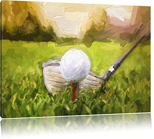 Golfabschlag effetto pennello, formato: 120x80 su tela,