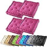 4er Set Gräfenstayn Sitzkissen Stuhlkissen 40x40x9cm für drinnen und draußen aus 100% Baumwolle – in verschiedenen Farben – Steppkissen / Bodenkissen (Violett)
