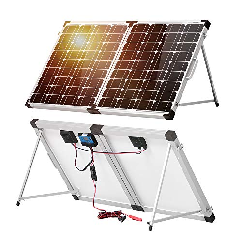 DOKIO Kit Panneau solaire pliable 100WC - 12V Idéal pour les utilisations embarquées comme le bateau, camping-car, véhicule divers