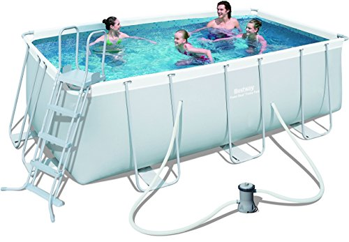 Bestway Power Steel 56456 - Piscina (Azul, Gris, Montura, Rectangular, PVC, Acero, 220 - 240)