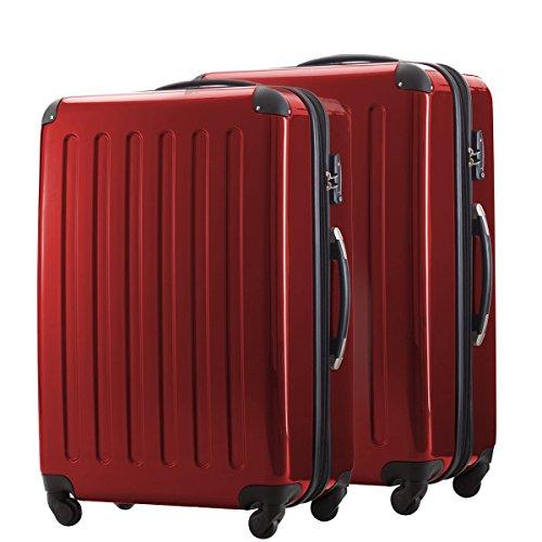 HAUPTSTADTKOFFER® 2er Hartschalen Kofferset · 2x Koffer 119 Liter (75 x 52 x 32 cm) · Hochglanz · TSA Zahlenschloss · CHAMPAGNER Rot