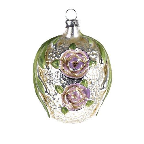 MAROLIN Glass Ornament Leafes with Roses, Violet