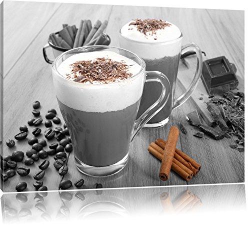 heiße Schokolade und frischer Kaffee mit Streuseln schwarz/weiß Format: 60x40 auf Leinwand, XXL riesige Bilder fertig gerahmt mit Keilrahmen, Kunstdruck auf Wandbild mit Rahmen, günstiger als Gemälde oder Ölbild, kein Poster oder Plakat - Cafe Küche