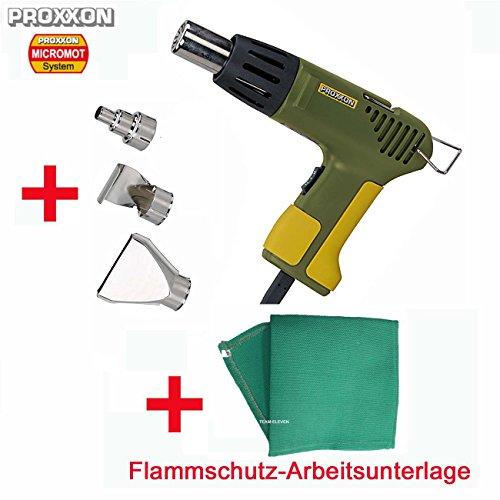 PROXXON Heißluftpistole/Heißluftgebläse MH 550 Set - inklusive Punktdüse, Flachdüse, Reflektordüse und Hitzeschutzmatte für hohe Arbeitssicherheit und vorbeugenden Brandschutz