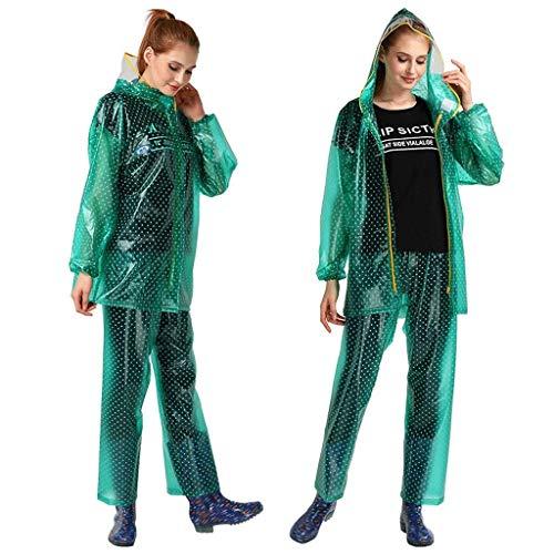 LULUDP Regenjacken Transparente Regenbekleidung PVC-Frauen-aufgeteilter Punkt-wasserdichter Regenmantel-Satz, Reitenwinddichter Poncho-Regenmantel im Freien Wasserdichtes Regenmantel-Set