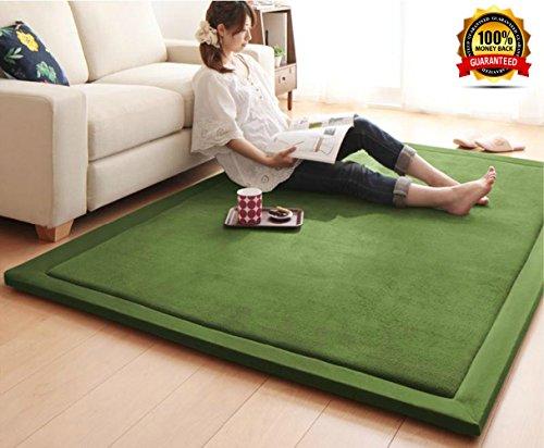 Rückseitenschale Tatami Matte Bereich Teppich, Ultra Weiches dicker Teppich Tatami Matte für Wohnzimmer/Schlafzimmer/Esszimmer, Kinder-/Kinder/Baby Krabbeldecke, grün, 31,5von 200,7cm, Mikrofaser, grün, 47 by 79 Inch (Teppiche 8 X 10 Abstand)