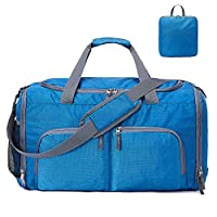 Loijon 45L Sports Gym Bag with Wet Pocket Shoes Compartment Travel Duffel Bag for Travel Gym Trip