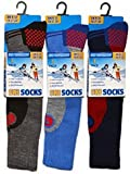 3 Pack Childrens/Boys High Performance Ski Socks With Extra Cushioning, Shin Protection, Assorted Colours, UK: 4-6, EUR: 35-40