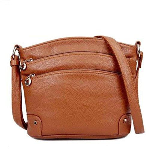Frauen-Beutel, beiläufiger Art, Multi-Reißverschlusstasche, echtes Leder, Crossbody Schulter-Beutel, Handtasche Yellow