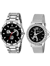 Skemi Analog Round Black Dial Men-Woman Watch/Fashionable Couple Watch/Watches For Couple Combo-048
