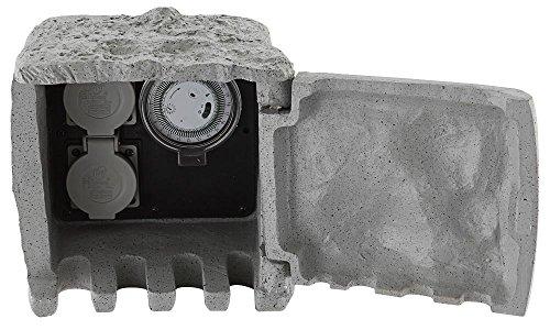 Außen Strom Verteiler Zeitschalter-Uhr Timer 2 Steckdosen Zeitschalt Uhr IP44 Steinoptik 5m Kabel grau Globo 37001-2Z