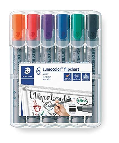 Staedtler Lumocolor 356 B WP6 Flipchart-Marker, Keilspitze ca. 2 oder 5 mm Linienbreite, Set mit 6 Farben, ideal für Flipchart-Blöcke, farbintensiv, geruchsarm, hohe Qualität -