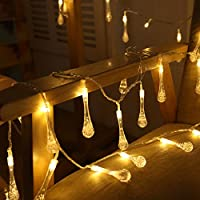 Uping Water Drops Solar String Lights| 30 Led Fairy Light of 8 Modes| waterproof for Indoor, Outdoor, Party,Garden, Christmas, Halloween, Holiday,Wedding Decoration | 21.3ft | Warm White