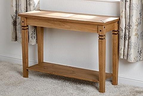 Table console en pin ciré effet vieilli