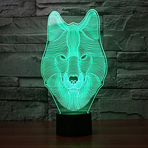 Wolf 3d Optical Illusion Desk Lamp 7 Colors Change Touch Button USB Nightlight produces Unique Visualization Lighting Effects Art Sculpture Light 7.4*5.7inch Wolf
