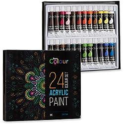Juego de 24 colores de pintura acrílica, tubos de 12ml, perfecto para niños, estudiantes y artistas,pinturas para pintar sobre papel, lienzo, madera, arcilla, tela, uñas, cerámica y manualidades