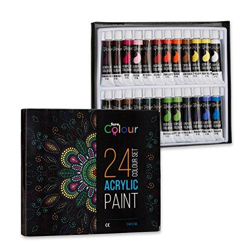 (Acrylfarben-Set mit 24 Tuben à 12 ml, Wasserfeste Farben für Malerei auf Papier, Leinwand, Holz, Keramik und Stoff, Hochwertige Ölfarben von Sure Colour zum kreativen Malen für Künstler und Kinder)