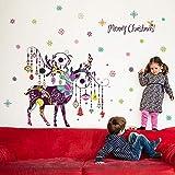 Adesivi murali natalizi dipinti a mano colorati alci carillon eolici creativi appesi a neve soggiorno decorazione del corridoio decalcomania traslucida