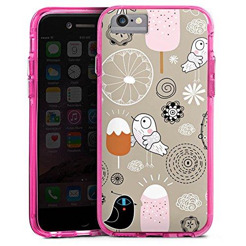 Apple iPhone 6s Bumper Hülle Bumper Case Glitzer Hülle Birds Love Icecream Eis Ice Bumper Case transparent pink
