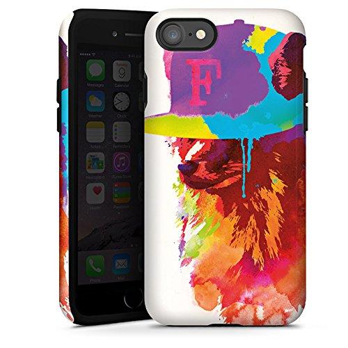 Apple iPhone X Silikon Hülle Case Schutzhülle Fuchs mit Mütze Wasserfarbe Tough Case glänzend