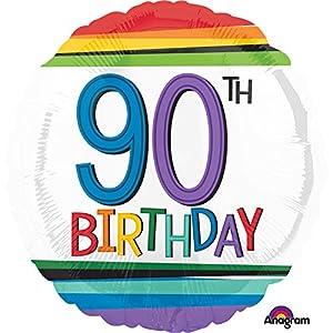 """Amscan International 3444001 - Globo de Papel de Aluminio con Texto en inglés Rainbow Birthday 90"""""""