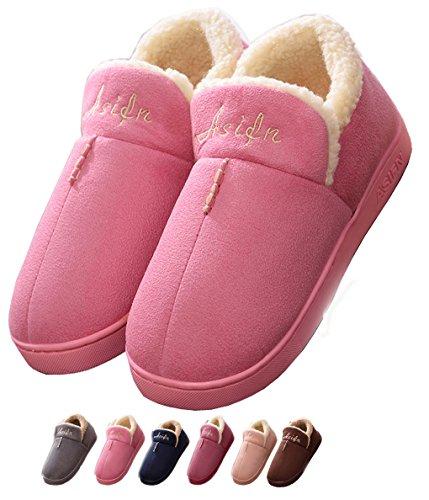 Invierno Zapatillas de Estar por casa biorelax Mujer Hombre nordikas Cerradas Peluche Andar Niños Pantuflas Niña Abiertas pies calienta Zapatos Originales Slippers para termicas Rosado 38-39