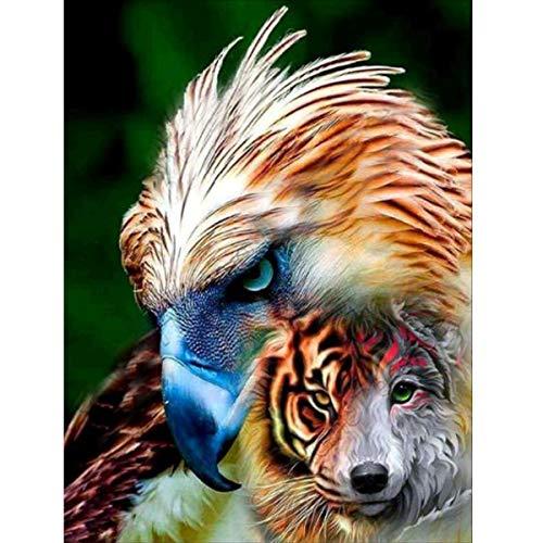 MXJSUA 5D Diamant-Malerei, komplettes Rundbohrer-Set für Erwachsene, geklebte Stickerei, Kreuzstichkunst, Handwerk für Zuhause, Wanddekoration, Adler und Wolf, 30,5 x 40,6 cm
