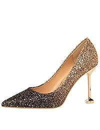 b839996d3b08 Escarpins Chaussures Femme Chaussures Haut Talon Dégradé De Couleur Sexy  Femme Talon Fin Bouche Peu Profonde Pointu Paillettes…