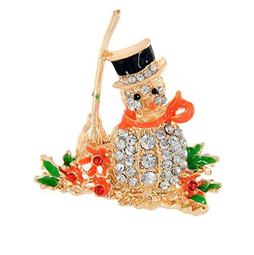 VI. Yo Strass Kristall Weihnachten Brosche Pin Weihnachtsschmuck Ornaments Unisex Weihnachts Buttons, Diamond Snowman, 5*5CM (Button Diamond Home)