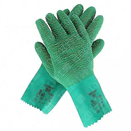 JZDCSCDNS Gants en Caoutchouc Nitrile Anti-Chaud Antidérapant Étanche Anti-ponction Anti-Vapeur Haute température Résistant à la déchirure Cuisine Travail Aquatique Verre/Coulée Vert, M
